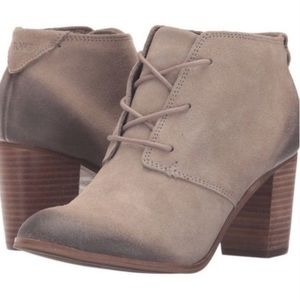 TOMS LUNATA TAUPE TAN HEEL ANKLE BOOTIES SIZE 8.5